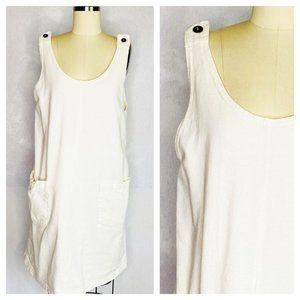Vintage 80s Cotton Scoop Neck Pinafore Dress XL